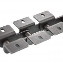 Łańcuch rolkowy specjalny o podwójnej podziałce z płytkami wygiętymi